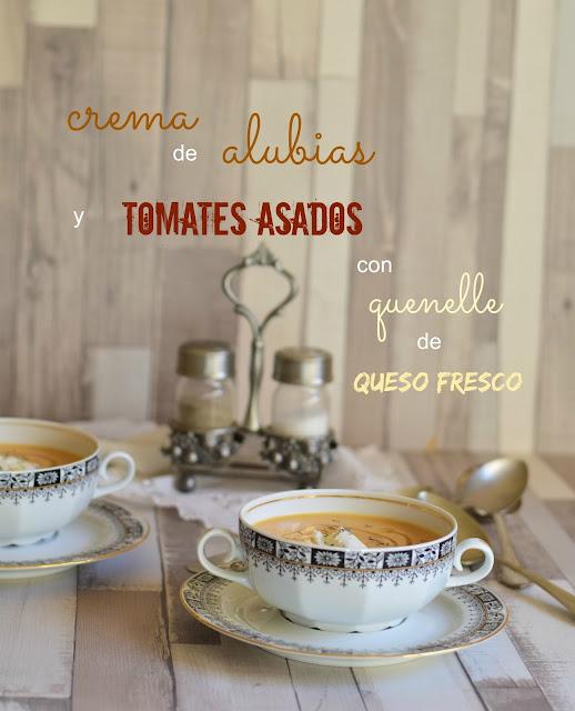 Crema de alubias y tomates asados con quenelle de queso