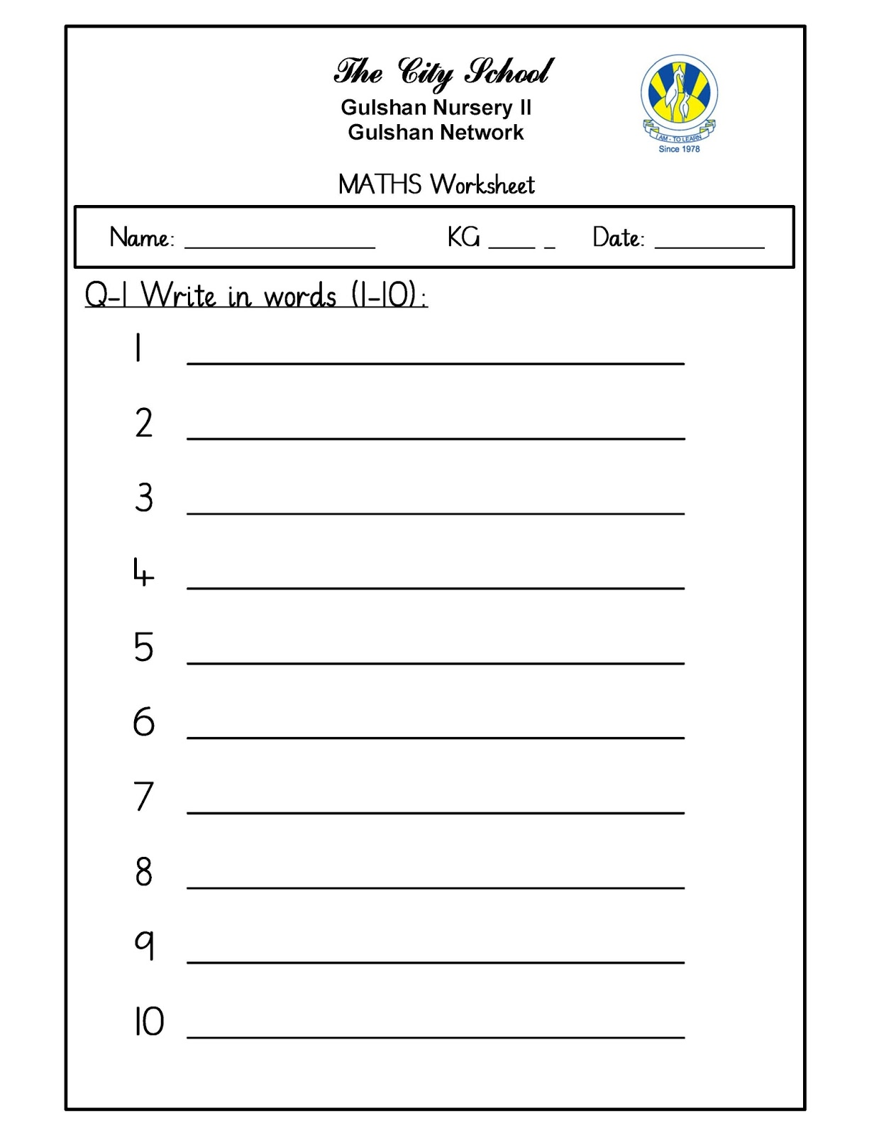 Sr Gulshan The City Nursery Ii Worksheets Maths