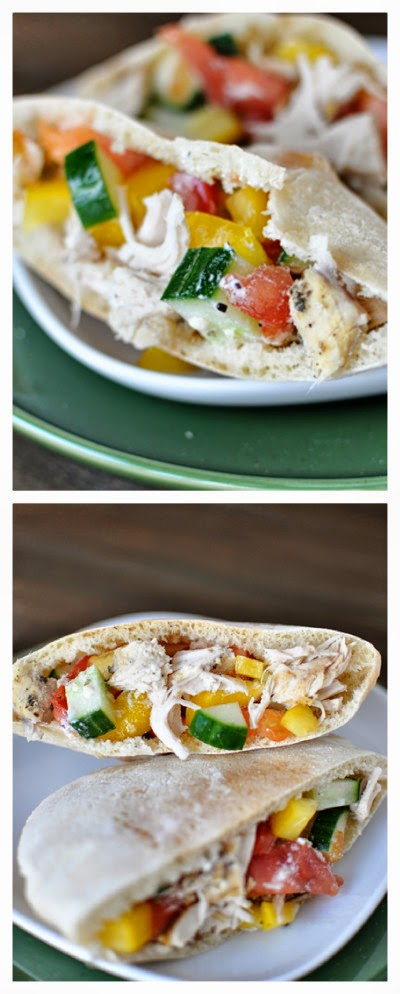 Slow Cooker Greek Chicken Pita Pockets from Mel's Kitchen Cafe found on SlowCookerFromScratch.com