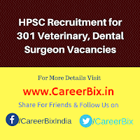 HPSC Recruitment for 301 Veterinary, Dental Surgeon Vacancies