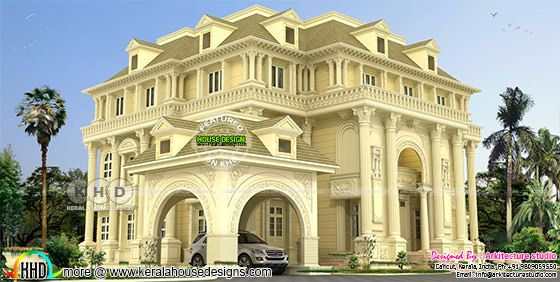 Super luxury 6 BHK Colonial home plan
