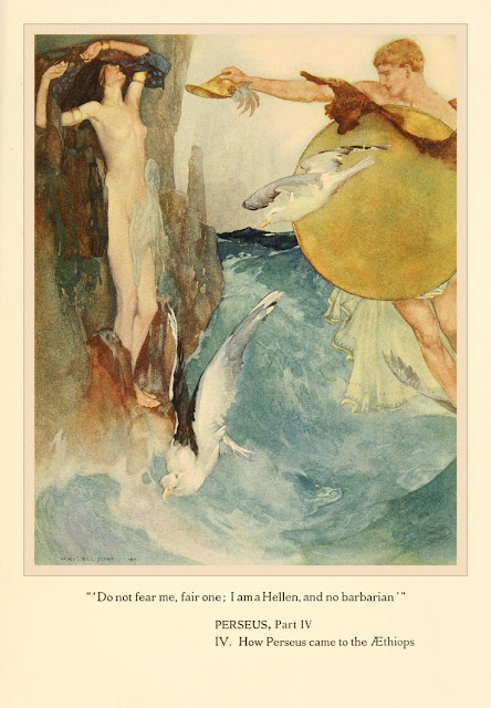 """Do not fear me fair one; I am a Hellen and no barbarian"" Perseus Part IV Illustration William Russell Flint ""The Heroes (or Greek Fairy Tales for My Children) By Charles Kingsley"