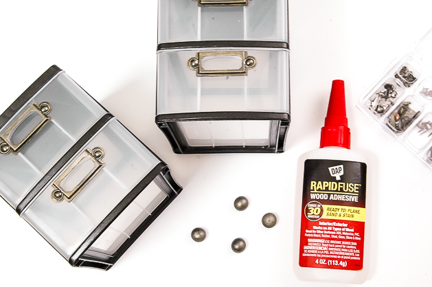 Gluing pulls to Dollar Tree storage drawers