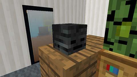 マイクラ-ウィザースケルトンの頭が映るリアルな鏡の画像