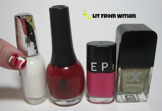 What I used:  White mix, Finger Paints Patent Leather Red, Sephora Speed Dating, and SephoraX Torque.