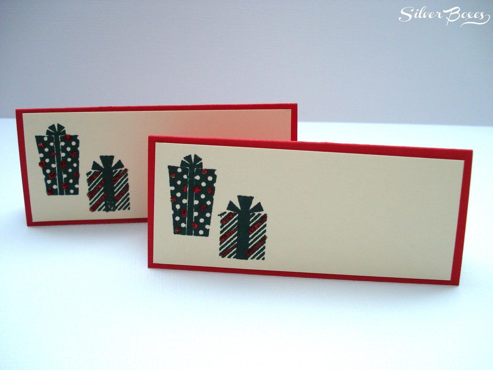 silver boxes christmas place cards