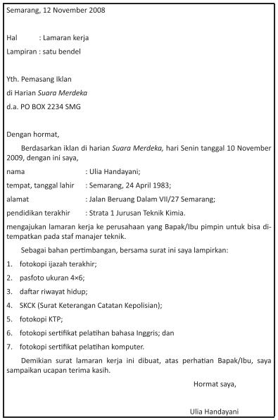 Menyusun Surat Lamaran Pekerjaan Dengan Memperhatikan Isi Sistematika Dan Kebahasaan Zuhri Indonesia