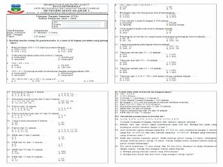 Soal UTS Kelas 4 Matematika KTSP Semester 1