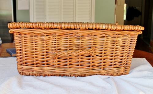 vintage wicker hamper