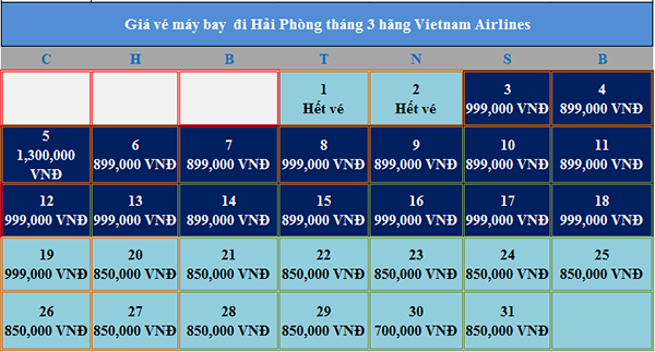 Giá vé máy bay đi Hải Phòng tháng 3 Vietnam Airlines