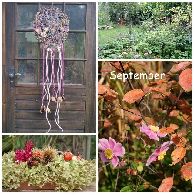 Blütentablett und Traumfänger aus Filz und Samentständen