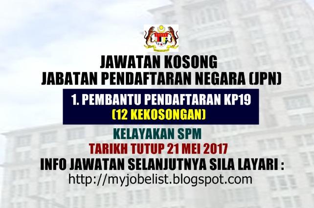 Jawatan Kosong Jabatan Pendaftaran Negara (JPN) Mei 2017