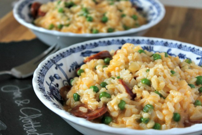 Oven Baked Chorizo and Cheddar Risotto