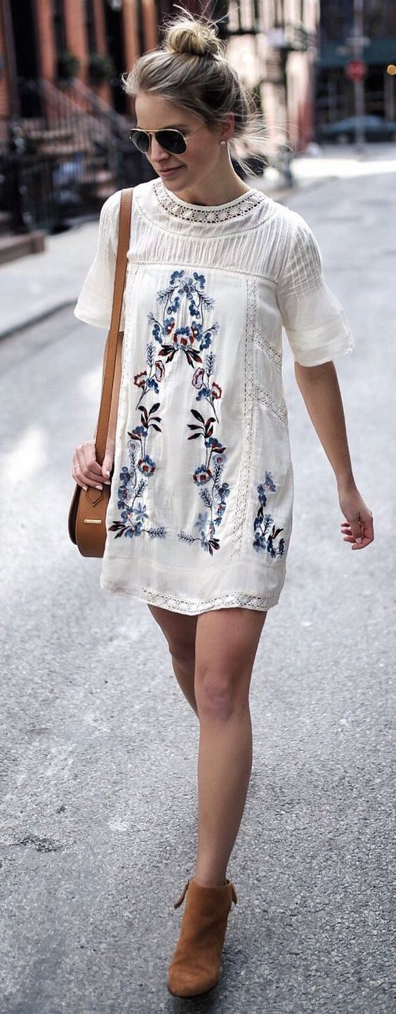 fashion trends / embroidered dress + brown boots + bag