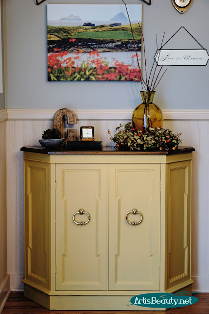 Somerset Gold Cabinet makeover using General finishes Milk paint artisbeauty.net karin chudy
