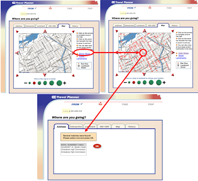 Figure 5. These three steps demonstrate the quickest way a user is able to find and select a bus stop using the old OC Travel Planner's map functionality.