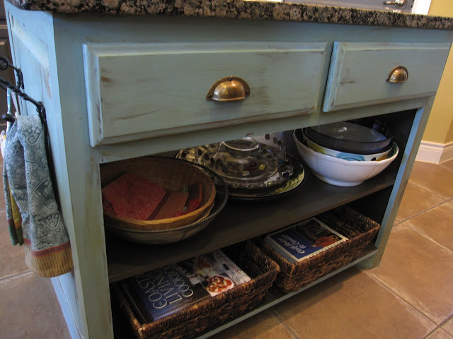 turquiose kitchen cabinet, update a builder grade kitchen island with paint and hardware