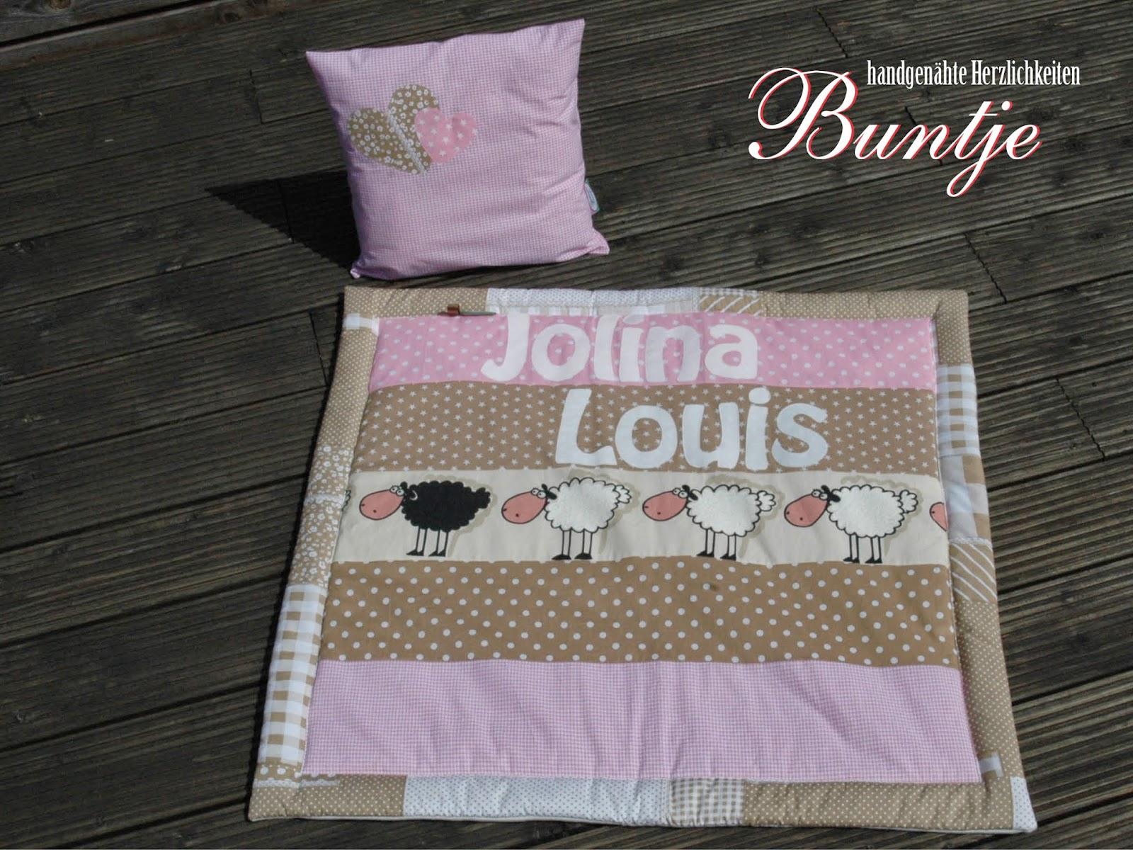 Krabbeldecke Kuscheldecke Decke Baby Name Mädchen Jolina Louis rosa beige Schafe Geschenk Geburt Taufe Baumwolle Fleece Buntje nähen