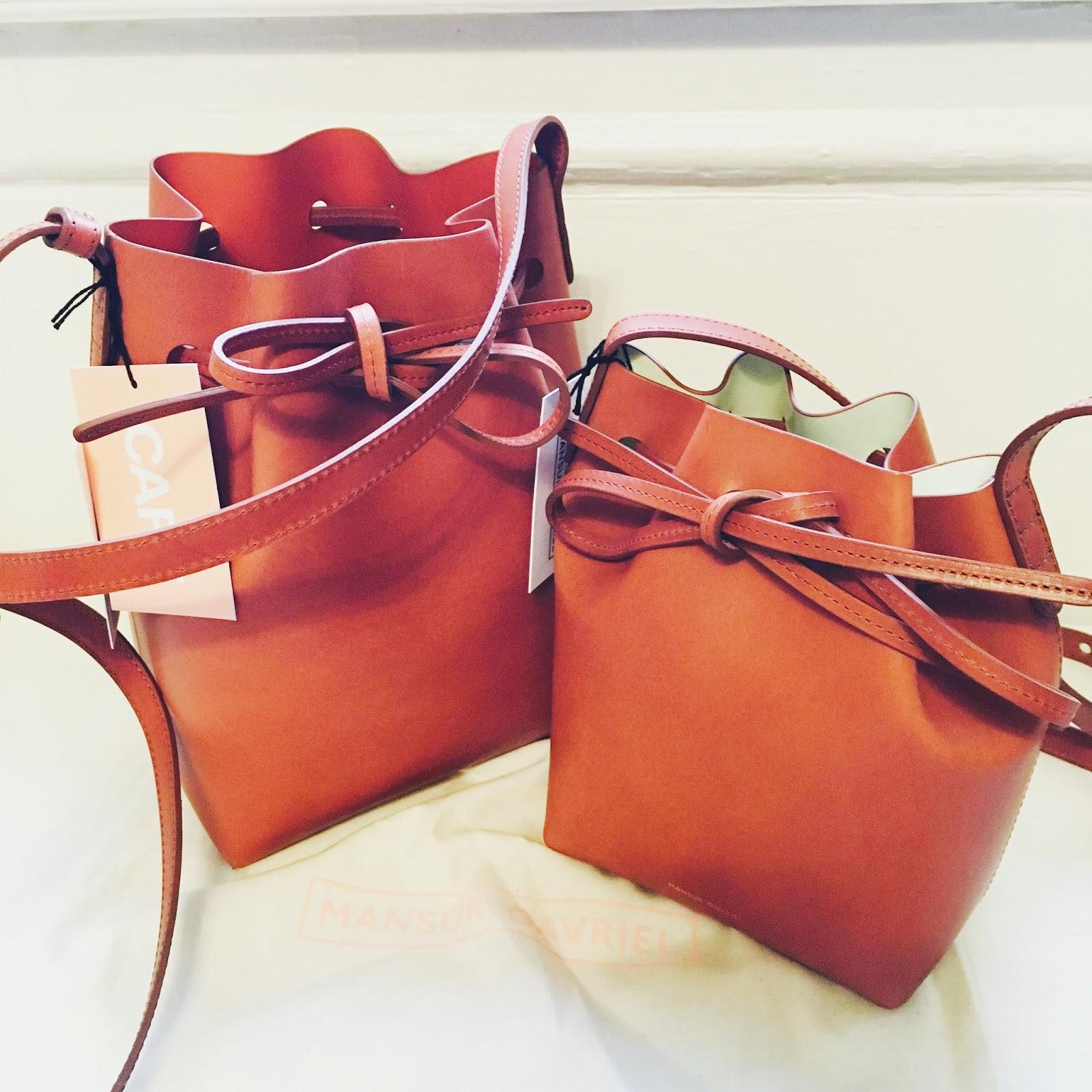 BNWT Authentic MANSUR GAVRIEL Mini (medium size) Bucket Bag in Brandy Brick  and Mini Mini (small size) Bucket Bag in Brandy Cleo. Both with tags