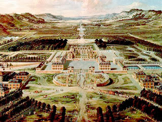 Color painting of Versailles in the 1670s.