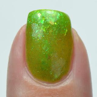 jelly green nail polish with shifting flakies