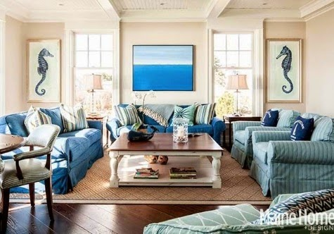 Blue nautical decor in an elegant maine home completely for Blue themed living room ideas
