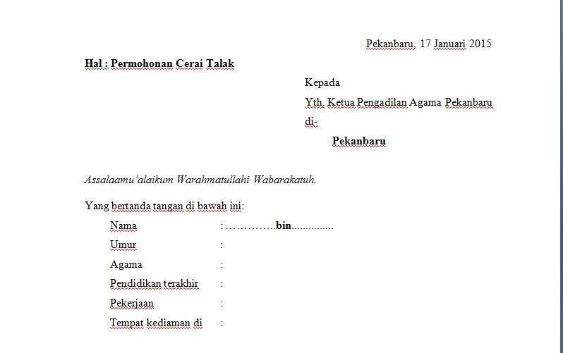 Contoh Surat Permohonan Cerai Talak Suami Otoritas Semu