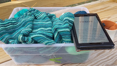 Ocean Stripes, a garter stitch shawl and Snowblind by Christopher Golden