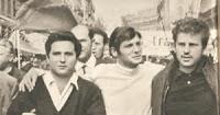De gauche à droite Alain Geismar, Jacques Sauvageot et Daniel Cohn-Bendit.