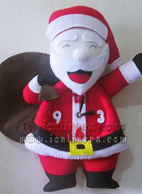 Jam Dinding Flanel Karakter Kartun Boneka Santa Claus
