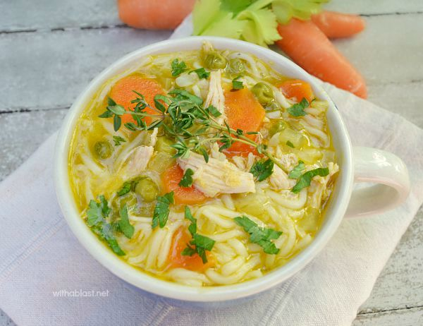 Very tasty, vegged up healthy Chicken Noodle Soup for the colder evenings