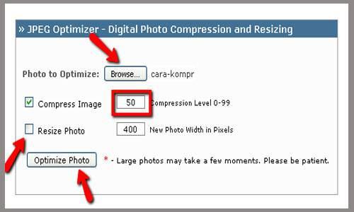 kompres gambar tutorial enam