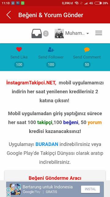 Auto Like, Followers & Komentar Instagram Gratis 100% Work