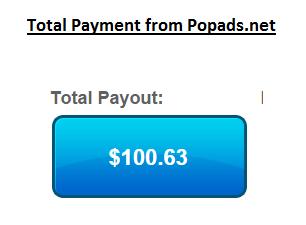 I Earn $100 from Popads