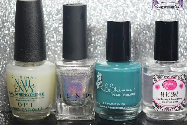 O.P.I Original Nail Envy, ILNP Mega (S), KBShimmer Teal It To My Heart, Glisten & Glow HK Girl Fast Drying Top Coat