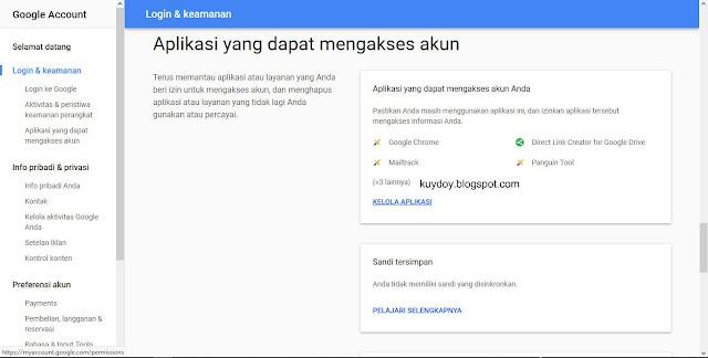 memeriksa akses aplikasi pihak ketiga di gmail