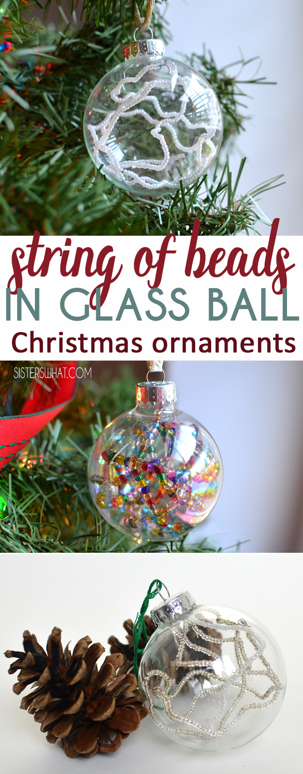 Add a string of beads to a glass christmas ornament.