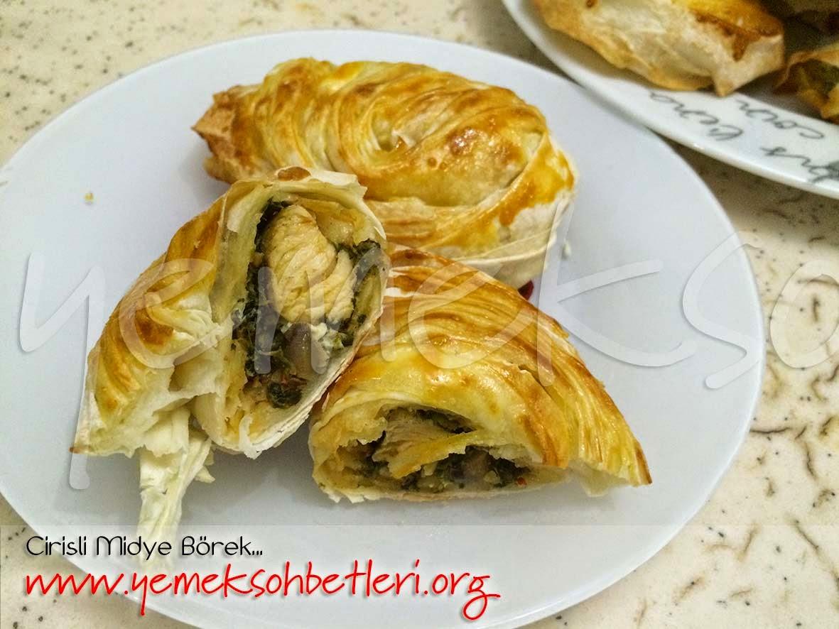 borek, çirişli börek, etyemekleri, hamurişi, mayalihamurisleri, midye borek, midye börek, pratik börek tarifi, tavuklu borek, yoreselyemekler,