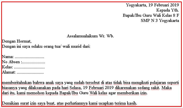 Contoh Surat Izin Tidak Masuk Sekolah Smp Suratsuratxyz