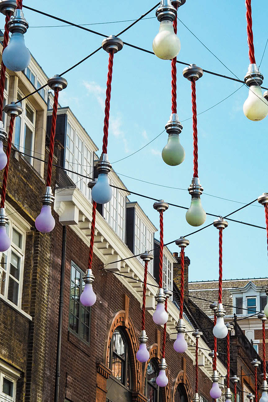 Multicoloured lightbulbs in Carnaby Street