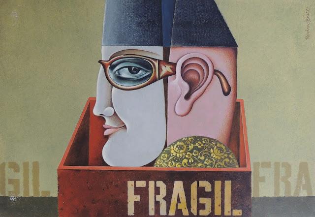 Josep Maria Rovira Brull Pintura surrealista retrato hombre gafas