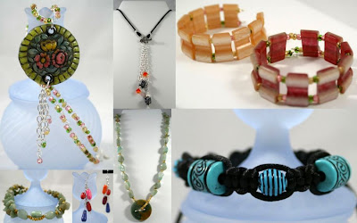 Bead Soup Party - the Results (Jade, Sterling Silver, Polymer Clay, Czech beads, Shambhala, Wood beads, Krobo beads, Swarovski, Silk cord) :: All Pretty Things