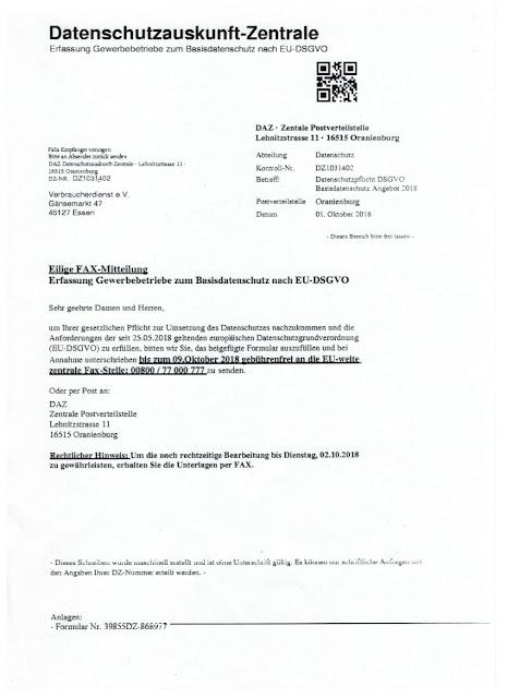 Scan: DAZ Datenschutzauskunft-Zentrale / Offerte Seite 1 / Okt 2018