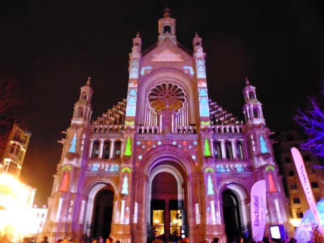 Espectáculo de luces en Bruselas en navidad