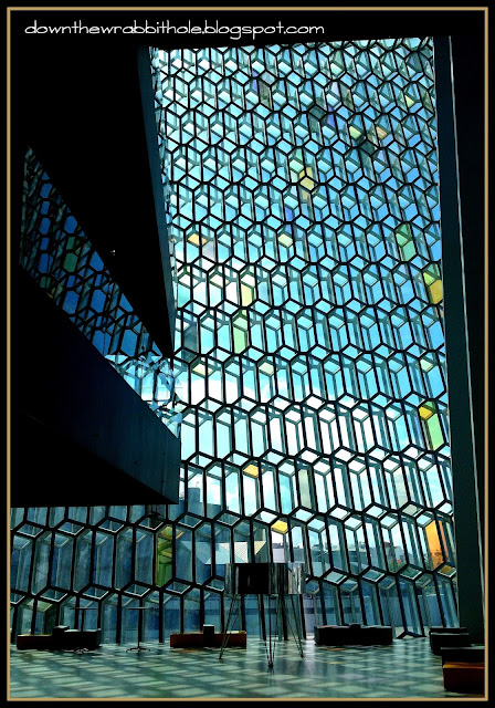 Harpa Concert Hall interior, stained glass windows, Iceland