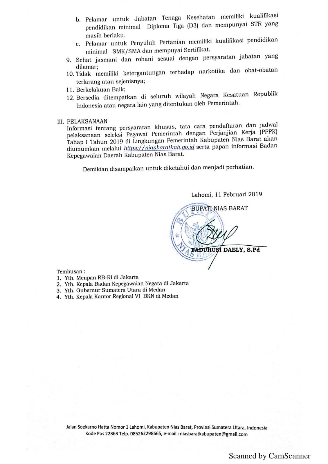 Penerimaan Pegawai Pemerintah dengan Perjanjian Kerja Kabupaten Nias Barat Tahun 2019