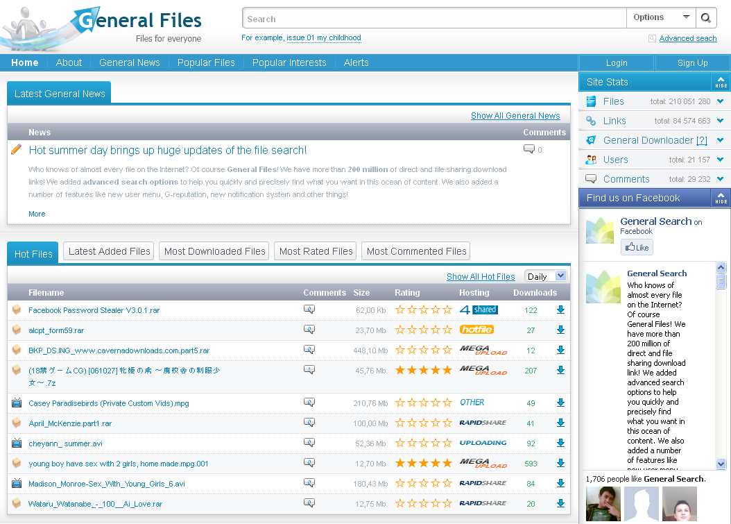 General File : Perfect Search Engine And File Sharing Website