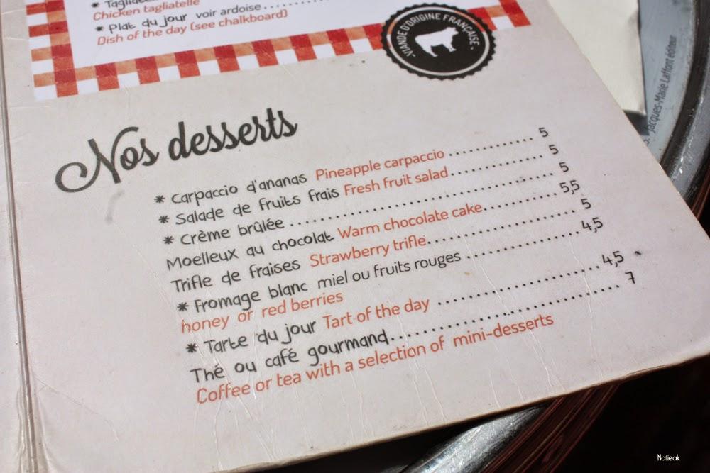 menu dessert