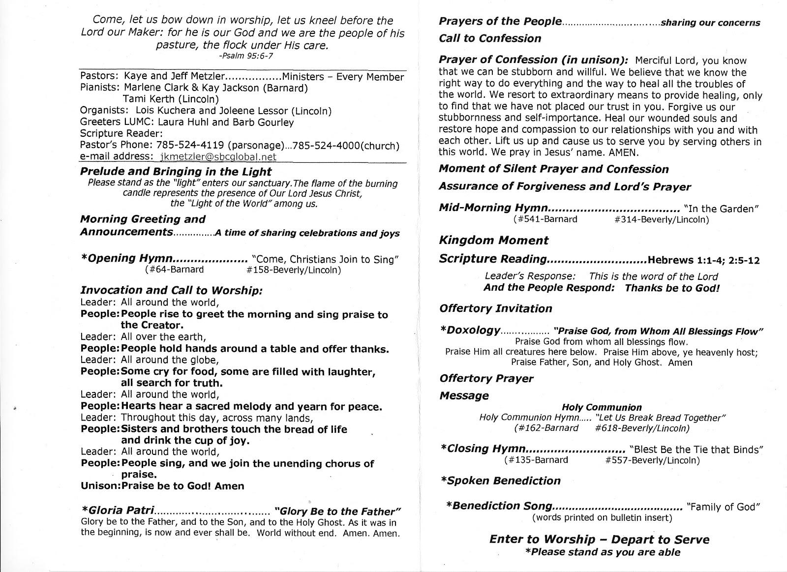 Barnard Banter: Barnard United Methodist Church World Communion