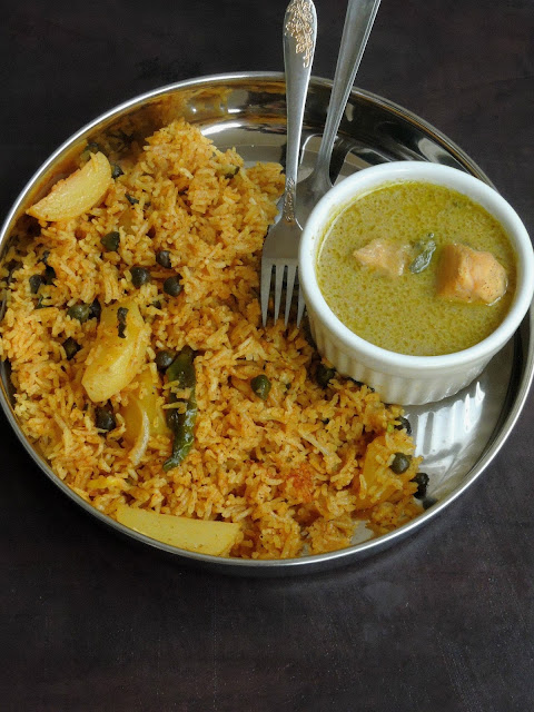 Hara Channa Aloo Biriyani, Potato & Green Chickpeas Briyani